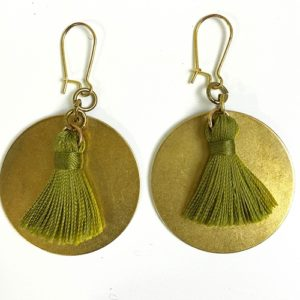 olive tassels on brass earrings